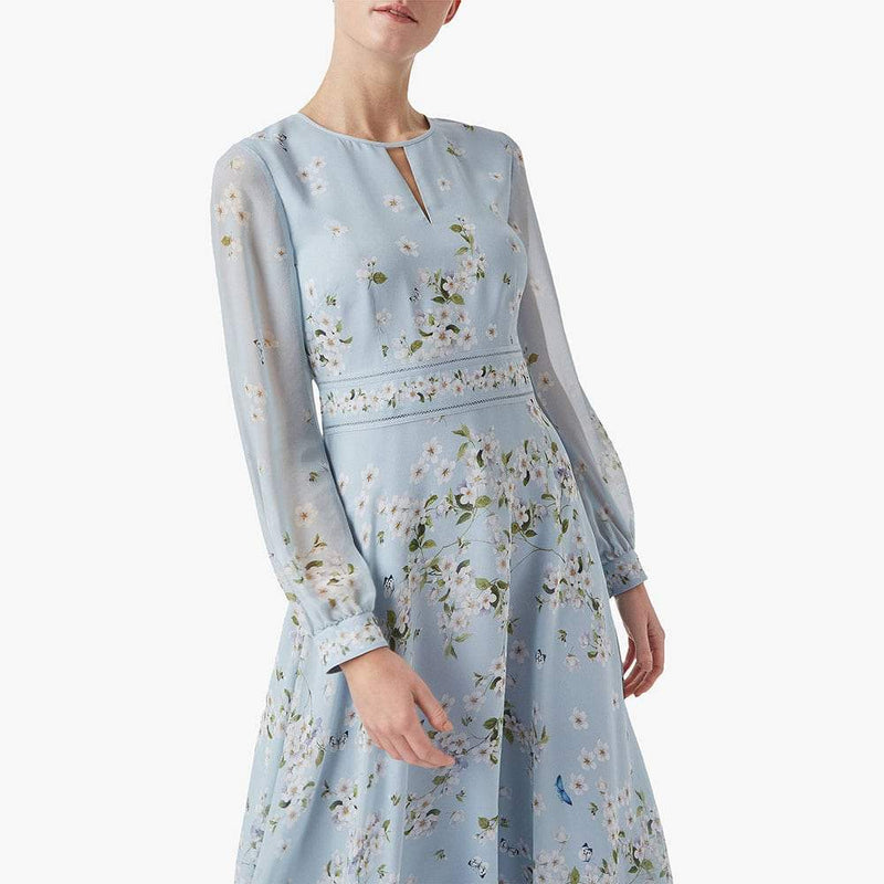 Hobbs Skye Silk Floral Long Sleeve Fit & Flare Midi Dress Zoom Boutique Store dress Hobbs Skye Silk Floral Long Sleeve Fit Flare Midi Dress| Zoom Boutique