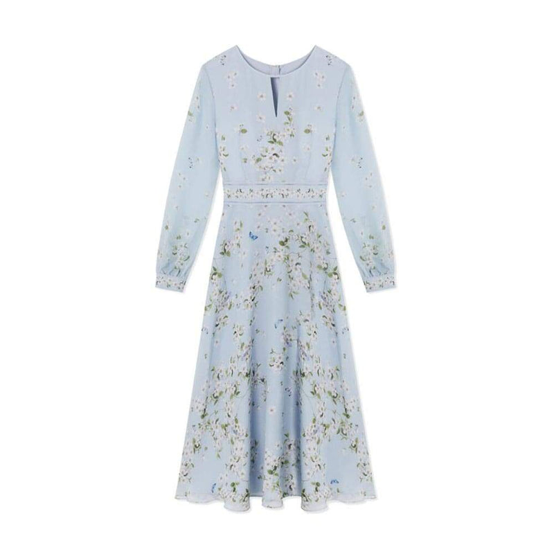 Hobbs Skye Silk Floral Long Sleeve Fit & Flare Midi Dress UK6 Zoom Boutique Store dress Hobbs Skye Silk Floral Long Sleeve Fit Flare Midi Dress| Zoom Boutique