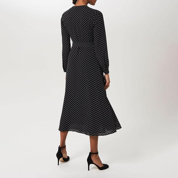 Hobbs Thea Polka Dot Spot Fit & Flare Tie Waist Midi Shirt Dress Zoom Boutique Store dress Hobbs Thea Polka Dot Spot Fit & Flare Midi Shirt Dress | Zoom Boutique