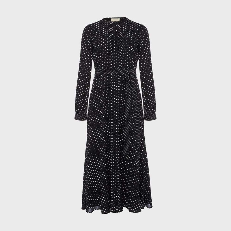Hobbs Thea Polka Dot Spot Fit & Flare Tie Waist Midi Shirt Dress UK8 Zoom Boutique Store dress Hobbs Thea Polka Dot Spot Fit & Flare Midi Shirt Dress | Zoom Boutique