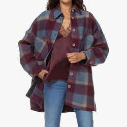 IRO Backpa Oversized Flanell Plaid Shirt Jackenmantel UVP $ 520 Zoom Boutique Store Mantel IRO Backpa Oversized Flanell Plaid Shirt Jackenmantel | Zoom Boutique