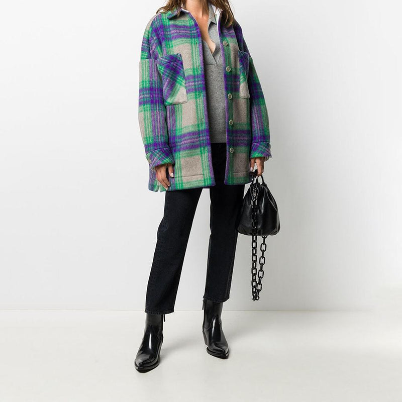 IRO Malhow Oversized Flannel Checked Plaid Jacket Coat RRP$520 Zoom Boutique Store coat IRO Malhow Oversized Flannel Checked Plaid Jacket Coat | Zoom Boutique
