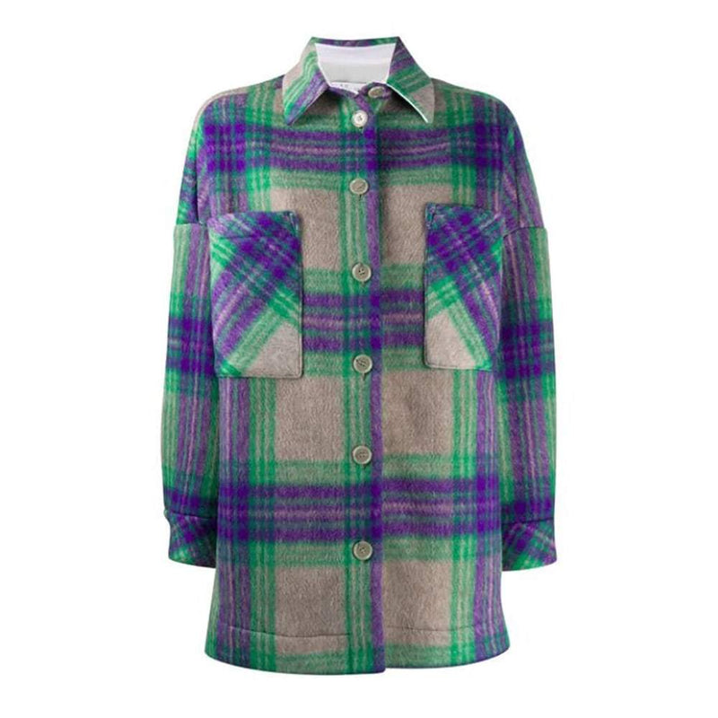 IRO Malhow Oversized Flannel Checked Plaid Jacket Coat RRP$520 S Zoom Boutique Store coat IRO Malhow Oversized Flannel Checked Plaid Jacket Coat | Zoom Boutique