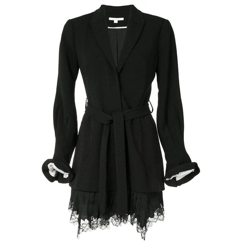 Jonathan Simkhai Victoria Lace Hem Blazer Crepe Dress RRP$795 0 / Black Zoom Boutique Store dress Jonathan Simkhai Victoria Lace Hem Blazer Crepe Dress | Zoom Boutique