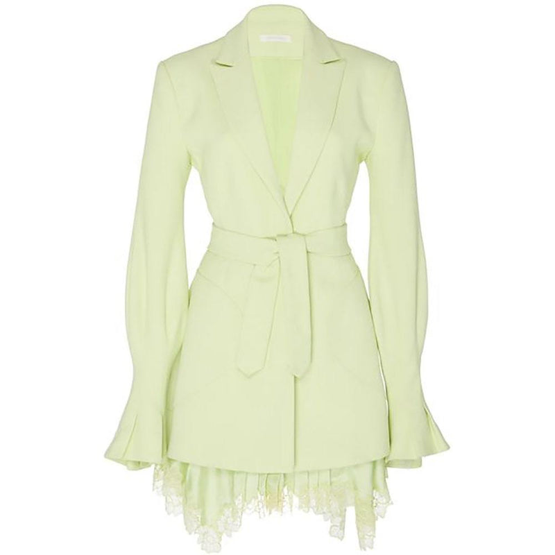 Jonathan Simkhai Victoria Lace Hem Blazer Crepe Dress RRP$795 0 / Green Zoom Boutique Store dress Jonathan Simkhai Victoria Lace Hem Blazer Crepe Dress | Zoom Boutique