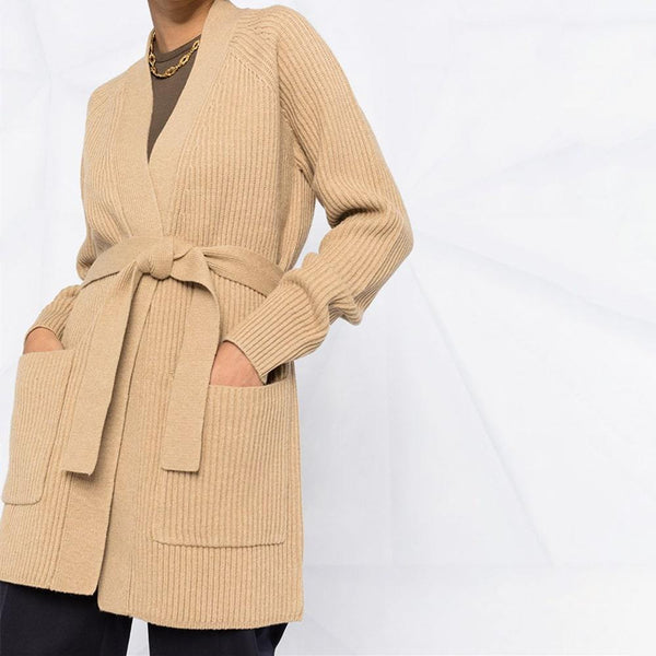 Joseph Belted Patch Pocket Ribbed Knit Wool Long Cardigan Zoom Boutique Store cardigan Joseph Belted Pocket Ribbed Knit Wool Long Cardigan | Zoom Boutique