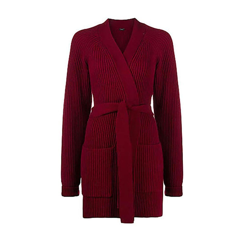 Joseph Belted Patch Pocket Ribbed Knit Wool Long Cardigan S / Merlot Zoom Boutique Store cardigan Joseph Belted Pocket Ribbed Knit Wool Long Cardigan | Zoom Boutique