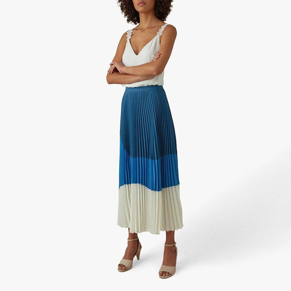 Karen Millen Vintage Color Block Pleated Midi Skirt RRP$348 - Zoom Boutique Store
