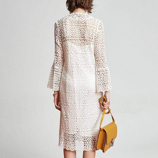 Kate Spade Cotton Guipure Lace Bell Sleeves Dress RRP$380 - Zoom Boutique Store