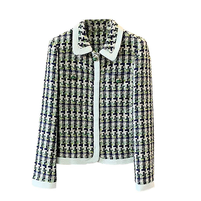 Kate Spade Cotton Pop Tweed Collared Jacket Juniper RRP$548 0 Zoom Boutique Store jacket Kate Spade Cotton Pop Tweed Collared Jacket Juniper | Zoom Boutique