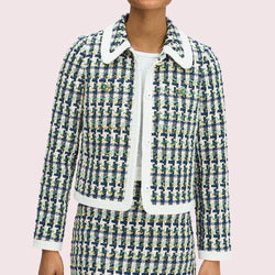 Kate Spade Baumwolle Pop Tweed Kragen Jacke Wacholder UVP $ 548 Zoom Boutique Store Jacke Kate Spade Baumwolle Pop Tweed Kragen Jacke Wacholder | Zoom Boutique