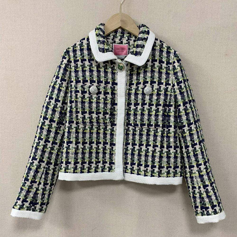 Kate Spade Cotton Pop Tweed Collared Jacket Juniper RRP$548 Zoom Boutique Store jacket Kate Spade Cotton Pop Tweed Collared Jacket Juniper | Zoom Boutique