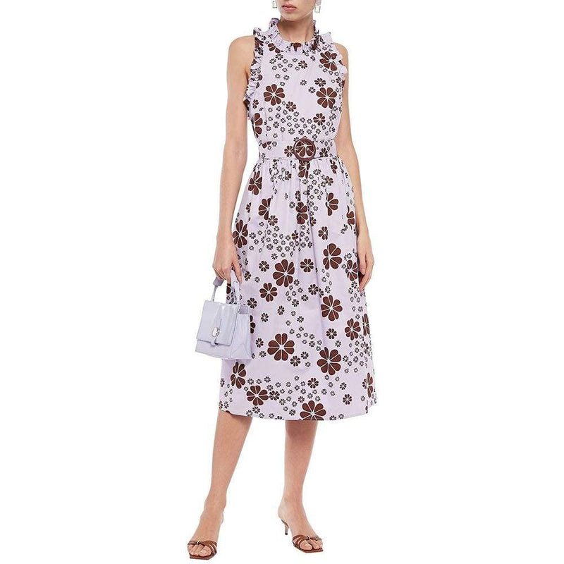 Kate Spade Flora Belted Floral Cotton Twill Midi Dress $298 - Zoom Boutique Store