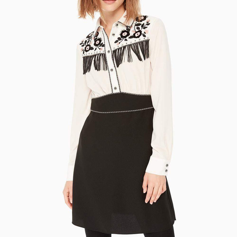 Kate Spade New York Black Western Fringe Embroidery Dress RRP$448 - Zoom Boutique Store