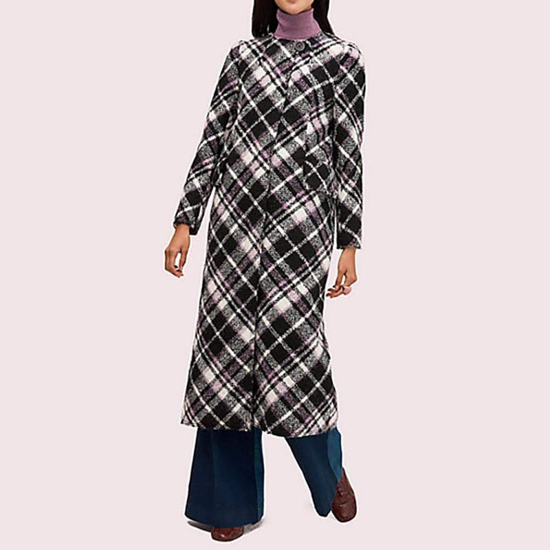 Kate Spade Plaid Boucle Wool Blend Midi Coat Jacket $898 - Zoom Boutique Store