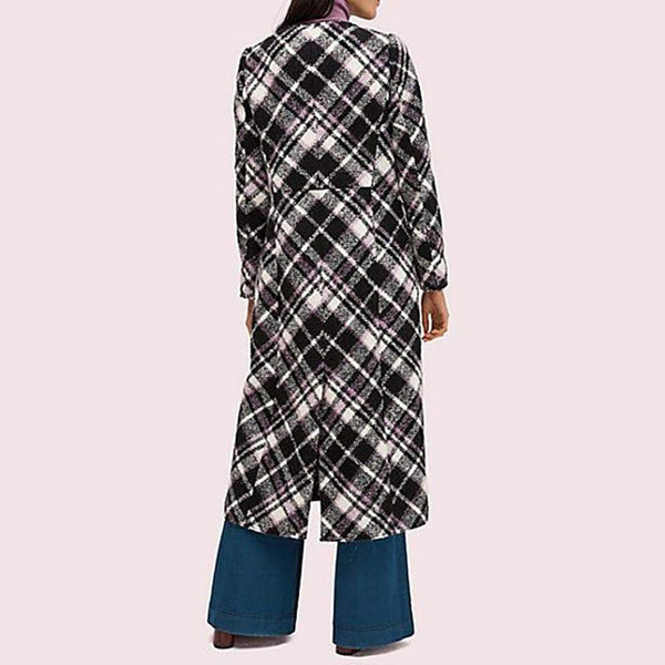 Kate Spade Plaid Boucle Wool Blend Midi Coat Jacket RRP$898 - Zoom Boutique Store