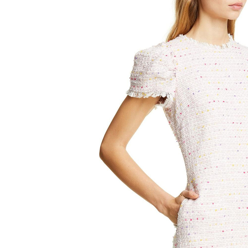 Kate Spade Strawberry Mochi Flutter Puff Sleeve Tweed Dress Zoom Boutique Store dress Kate Spade Strawberry Flutter Puff Sleeve Tweed Dress | Zoom Boutique