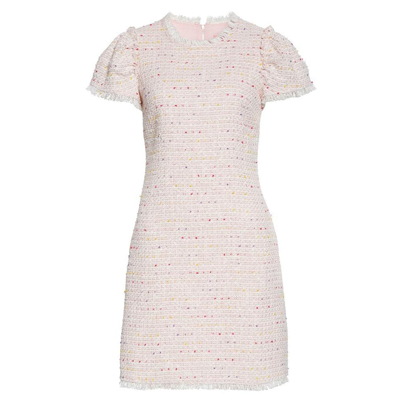 Kate Spade Strawberry Mochi Flutter Puff Sleeve Tweed Dress US0 Zoom Boutique Store dress Kate Spade Strawberry Flutter Puff Sleeve Tweed Dress | Zoom Boutique