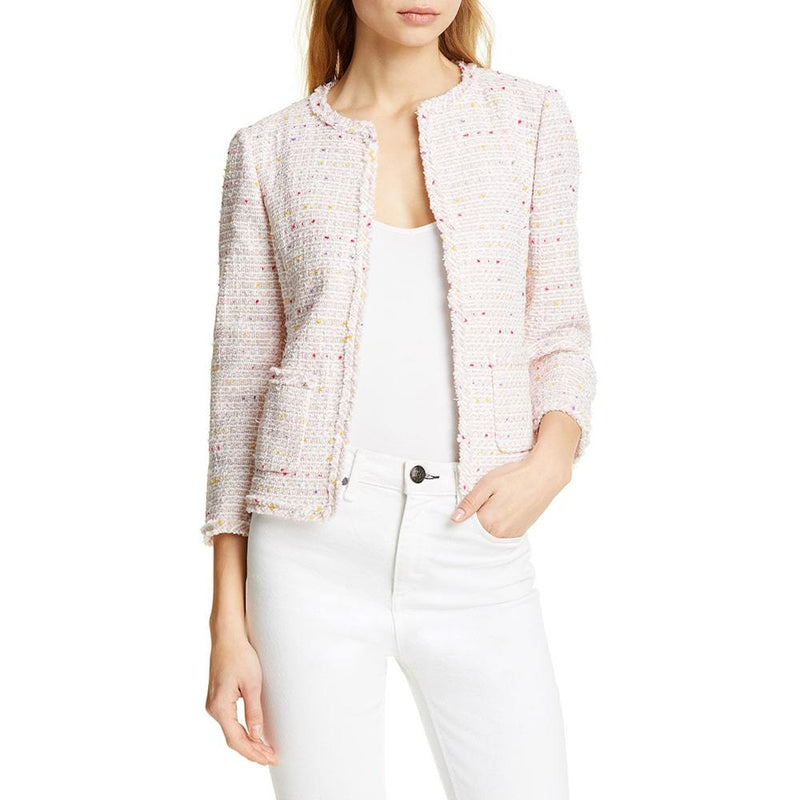 Kate Spade Strawberry Mochi Open Tweed Fringe Jacket Blazer US8 Zoom Boutique Store blazer Kate Spade Strawberry Open Tweed Fringe Jacket Blazer | Zoom Boutique