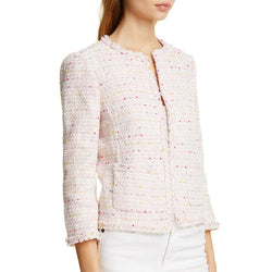 Kate Spade Strawberry Mochi Open Tweed Fringe Jacket Marynarka US8 Zoom Boutique Store Marynarka Kate Spade Strawberry Open Tweedowa Tweedowa kurtka z frędzlami Marynarka | Zoom Boutique