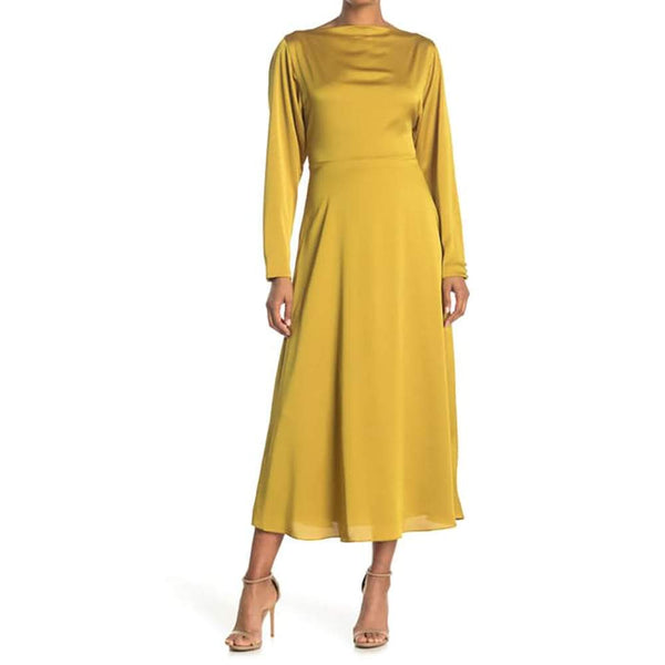 Kate Spade Twist Back Fit & Flare Midi Dress Golden Raisin RRP$478 Zoom Boutique Store dress Kate Spade Twist Back Bateau neck Fit Flare Midi Dress | Zoom Boutique