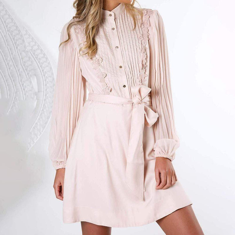 Keepsake Mindful Pleated Long Sleeve Mini Dress RRP$239 - Zoom Boutique Store