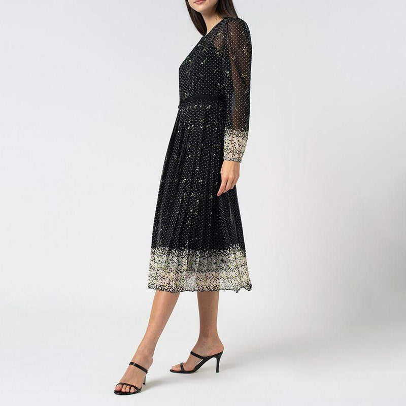 L.K.Bennett Avery Border Floral Polka Dot Pleated Flared Midi Dress Zoom Boutique Store dress L.K.Bennett Avery Border Floral Polka Dot Pleated Dress |Zoom Boutique