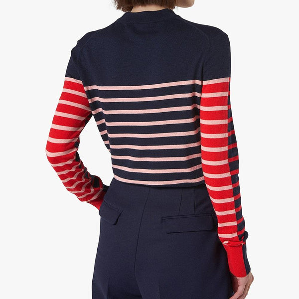 L.K.Bennett Carson Stripe Wool Knit Funnel Neck Jumper RRP$205 Zoom Boutique Store jumper L.K.Bennett Carson Stripe Wool Knit Funnel Neck Jumper | Zoom Boutique
