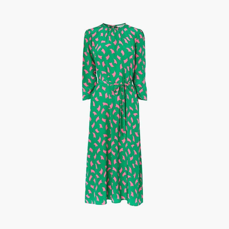 L.K.Bennett Dorothy Sail Print Draped Silk Fit & Flare Dress RRP$490 UK12 Zoom Boutique Store dress L.K.Bennett Dorothy Sail Print Silk Fit & Flare Dress | Zoom Boutique