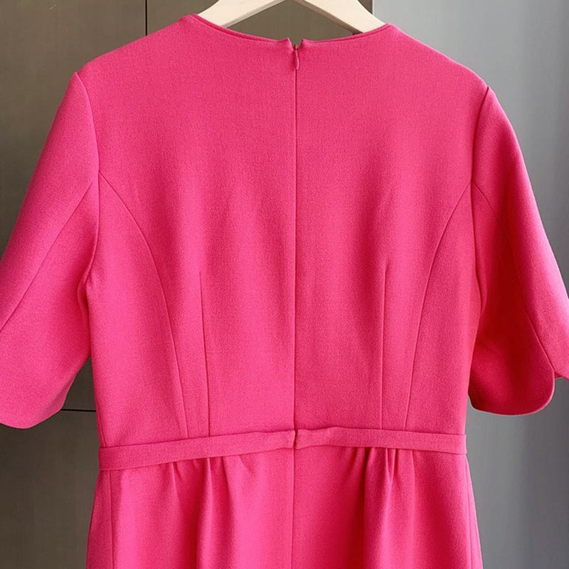 L.K.Bennett Elina Pink Bow Belt Crepe Shift Dress RRP$370 Zoom Boutique Store dress L.K.Bennett Elina Pink Bow Belt Crepe Shift Dress | Zoom Boutique