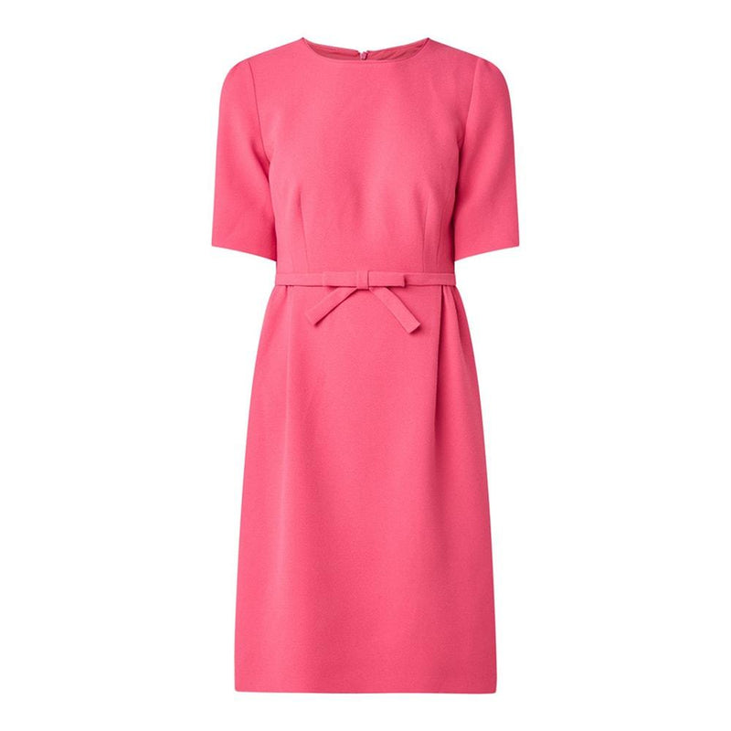 L.K.Bennett Elina Pink Bow Belt Crepe Shift Dress RRP$370 UK8 Zoom Boutique Store dress L.K.Bennett Elina Pink Bow Belt Crepe Shift Dress | Zoom Boutique