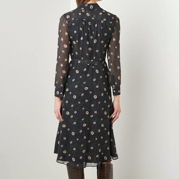 L.K.Bennett Ensor Daisy Spot Polk Dot Semi Sheer Shirt Midi Dress Zoom Boutique Store dress L.K.Bennett Ensor Daisy Spot Polk Dot Shirt Midi Dress | Zoom Boutique