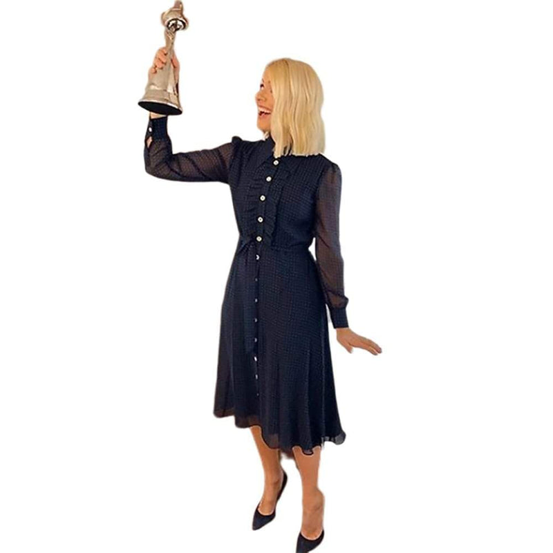 L.K.Bennett Ensor Navy Polka Dot Shirt Midi Dress RRP$415 Zoom Boutique Store dress L.K.Bennett Ensor Navy Polka Dot Shirt Midi Dress | Zoom Boutique
