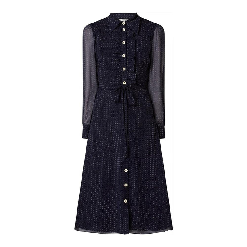 L.K.Bennett Ensor Navy Polka Dot Shirt Midi Dress RRP$415 UK10 Zoom Boutique Store dress L.K.Bennett Ensor Navy Polka Dot Shirt Midi Dress | Zoom Boutique