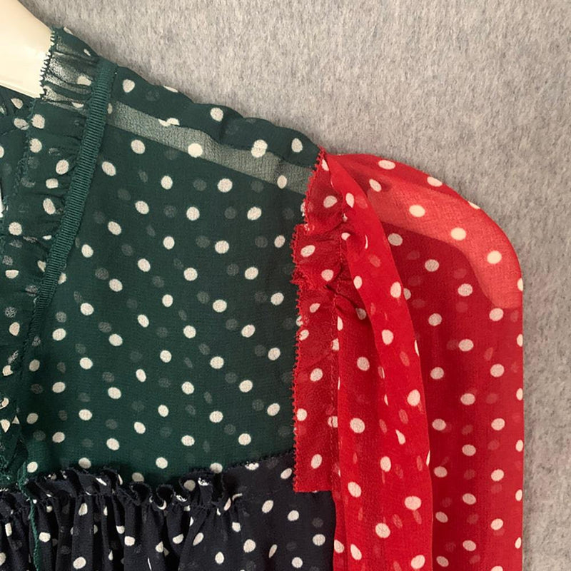 L. K.Bennett Filia Colour Block Spot Polka Dot Frill Blouse Zoom Boutique Store top L. K.Bennett Filia Spot Polka Dot Frill Blouse | Zoom Boutique