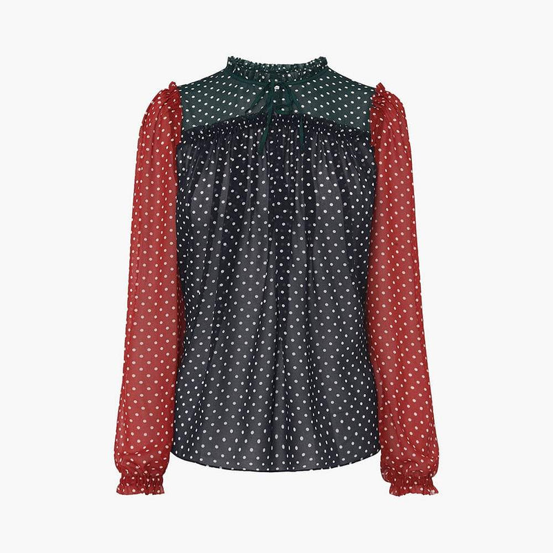 L. K.Bennett Filia Colour Block Spot Polka Dot Frill Blouse UK6 Zoom Boutique Store top L. K.Bennett Filia Spot Polka Dot Frill Blouse | Zoom Boutique