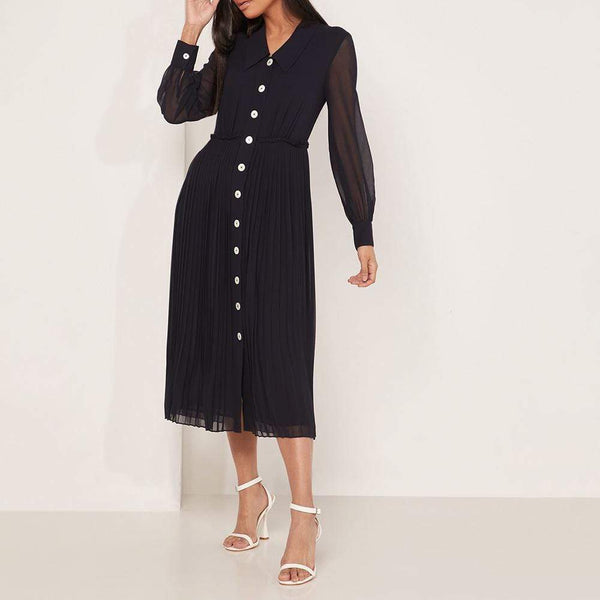 L.K.Bennett Fozette Navy Pleated Shirt Midi Dress RRP$415 - Zoom Boutique Store
