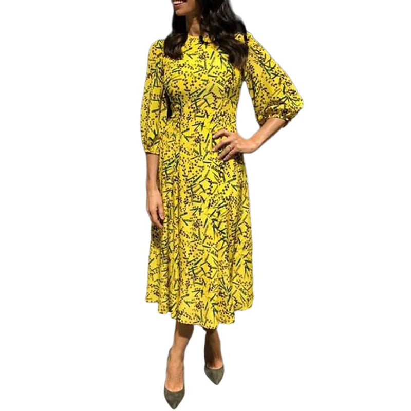L.K.Bennett Kaia Silk Fit & Flare 3/4 Blouson Sleeves Midi Dress RRP$480 Zoom Boutique Store dress L.K.Bennett Kaia Fit Flare Blouson Sleeves Midi Dress | Zoom Boutique