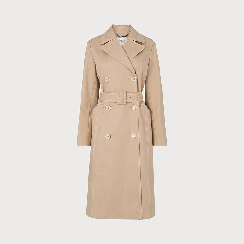 L.K. Bennett Kaylee Cotton Blend Tie Belt Trench Coat RRP$390 UK6 / Cream Zoom Boutique Store coat L.K. Bennett Kaylee Cotton Blend Tie Belt Trench Coat | Zoom Boutique