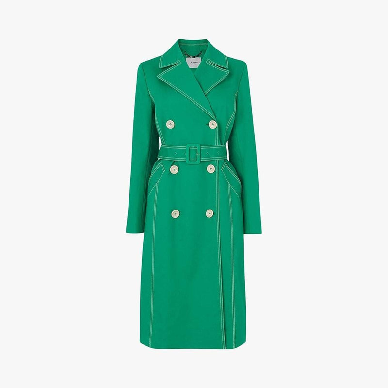 L.K. Bennett Kaylee Cotton Blend Tie Belt Trench Coat RRP$390 UK6 / Green Zoom Boutique Store coat L.K. Bennett Kaylee Cotton Blend Tie Belt Trench Coat | Zoom Boutique