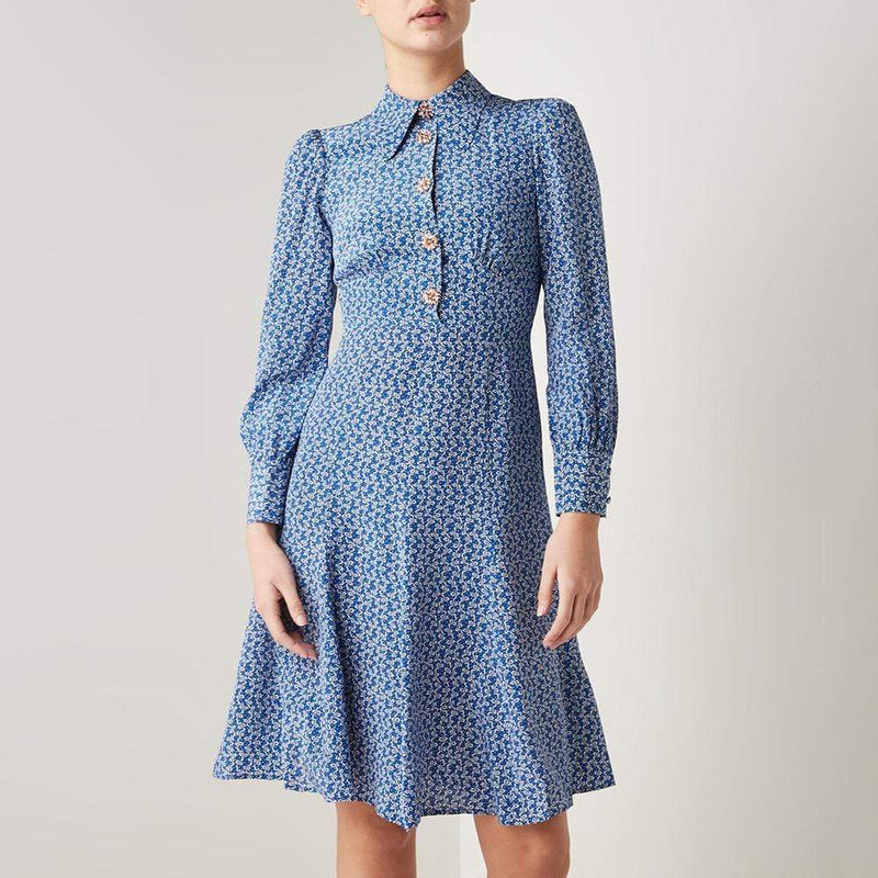 L.K.Bennett Mathilde Bow Print Puff Shoulder Silk Dress RRP$580 Zoom Boutique Store dress L.K.Bennett Mathilde Bow Print Puff Shoulder Silk Dress | Zoom Boutique