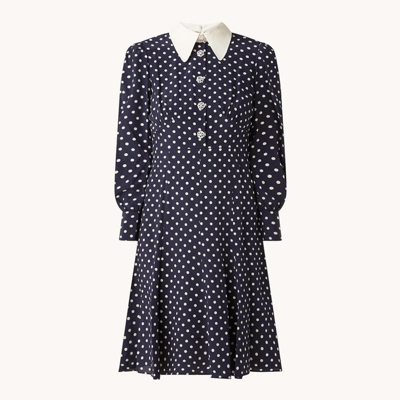 L.K. Bennett Mathilde Bow Print Puff Shoulder Silk Dress UK10 / Navy Zoom Boutique Store dress L.K.Bennett Mathilde Bow Print Puff Shoulder Silk Dress| Zoom Boutique