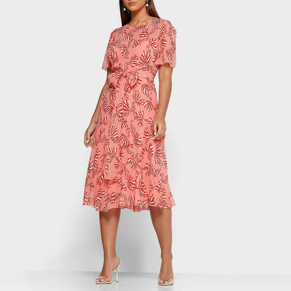 L.K.Bennett Mimi Pink Bow Print Self Tie Flare Midi Dress Zoom Boutique Store dress L.K.Bennett Mimi Pink Bow Print Self Tie Midi Dress | Zoom Boutique
