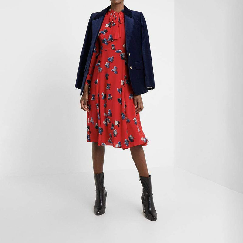 L. K.Bennett Mortim Silk Floral Tie Neck Midi Dress RRP$460 Zoom Boutique Store dress L. K.Bennett Mortim Silk Floral Tie Neck Midi Dress | Zoom Boutique