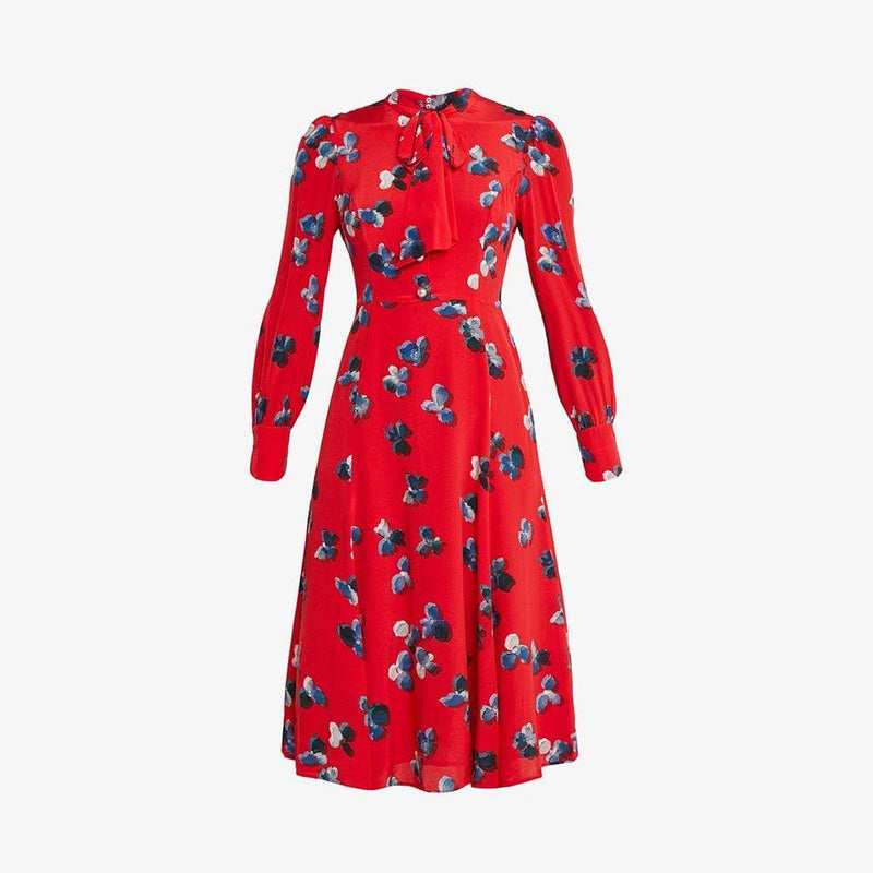 L. K.Bennett Mortim Silk Floral Tie Neck Midi Dress RRP$460 UK10 Zoom Boutique Store dress L. K.Bennett Mortim Silk Floral Tie Neck Midi Dress | Zoom Boutique
