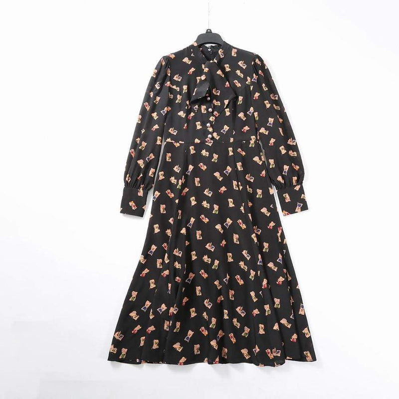 L.K. Bennett Mortimer Black Book Print Silk Mdi Tea Dress $535 - Zoom Boutique Store
