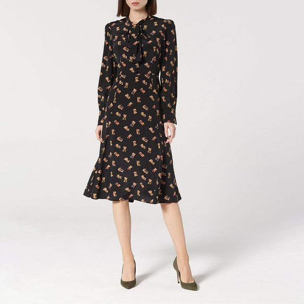 L.K. Bennett Mortimer Black Book Print Silk Mdi Tea Dress RRP$535 - Zoom Boutique Store