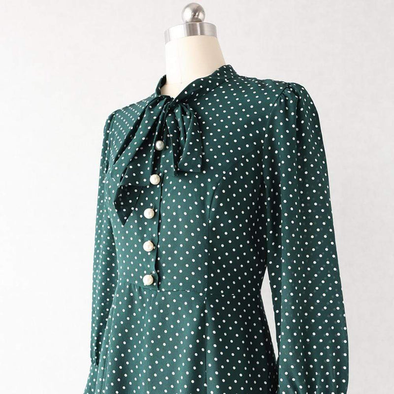 L. K. Bennett Mortimer Green Polka Dot Silk Dress $425 - Zoom Boutique Store