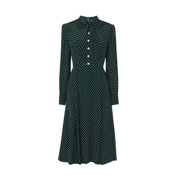 L. K. Bennett Mortimer Green Polka Dot Silk Dress $425 UK16 Zoom Boutique Store dress