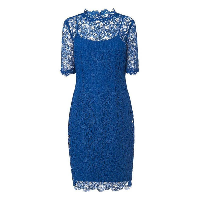 L. K.Bennett Sasha Sheer Floral Lace Shift Dress RRP$460 UK6 / Blue Zoom Boutique Store dress L. K.Bennett Sasha Sheer Floral Lace Shift Dress | Zoom Boutique